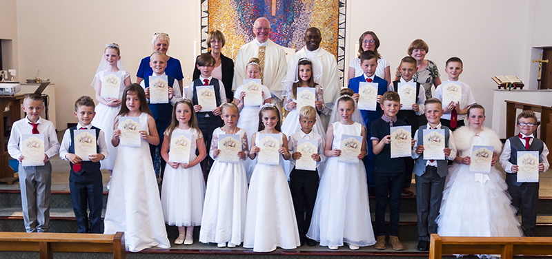 St. Andrew's Parish First Holy Group of 2107 with their certificates