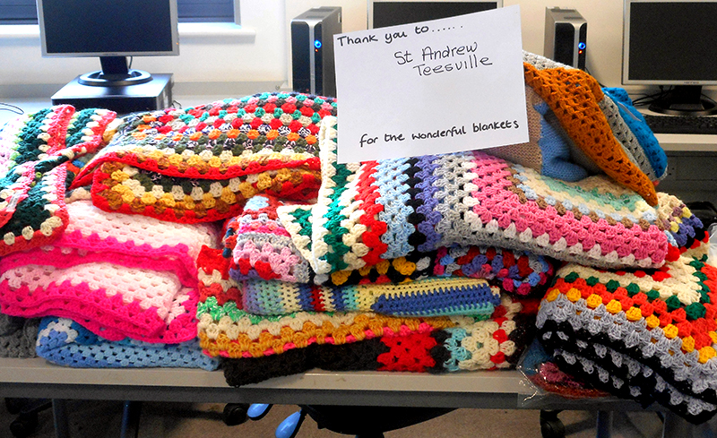 Some of the blankets knitted for Lourdes by St. Andrew's parishioners