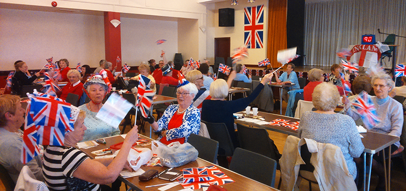Queens birthday celebrations in the parish hall.