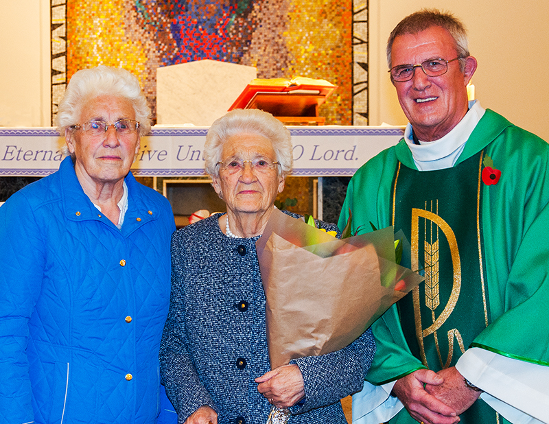 Kath Appleyard was presented with a bouquet of flowers to celebrate her 90th birthday