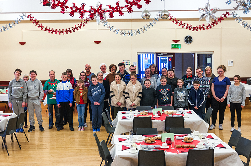 Young people and adult helpers who helped serve at this years parish pensioners Christmas lunch.