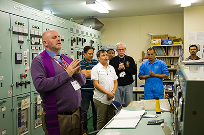 Fr. Gubbins blesses the engine room of the MV Nord Hercules