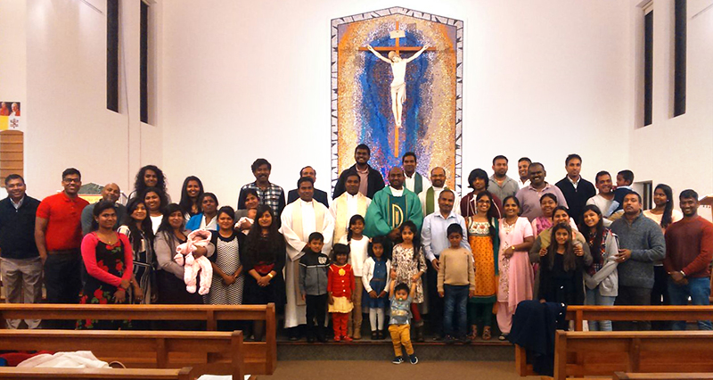 Members of the Tamil Community after their Mass at St. Andrew's Church