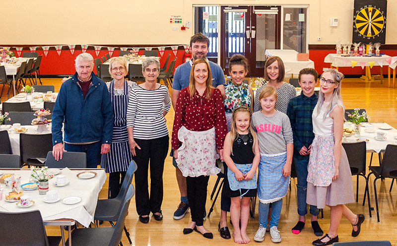 The Woods' family pictured just before the doors open for the Vintage Tea afternoon.